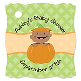 Little Pumpkin African American - Personalized Baby Shower Tags - 20 Count
