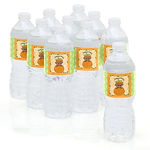 Little Pumpkin African American - Personalized Party Water Bottle Sticker Labels - Set of 10