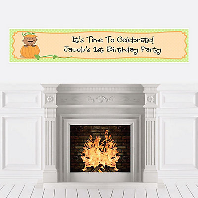 Personalize | Birthday | American | Pumpkin | Banner | Little | Party