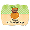 Little Pumpkin African American - Personalized Birthday Party Squiggle Stickers - 16 ct