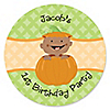 Little Pumpkin African American - Personalized Birthday Party Sticker Labels - 24 ct