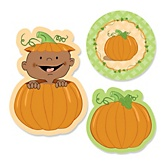 Little Pumpkin African American  - Shaped Baby Shower Paper Cut-Outs - 24 ct