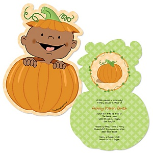 Little Pumpkin African American - Shaped Baby Shower Invitations