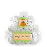 Little Pumpkin Caucasian - 2 Tier Personalized Square Baby Shower Diaper Cake