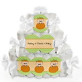 Little Pumpkin Caucasian - 3 Tier Personalized Square Baby Shower Diaper Cake
