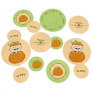 Little Pumpkin Caucasian - Personalized Baby Shower Table Confetti - 27 ct