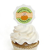 Little Pumpkin Caucasian - 12 Cupcake Picks & 24 Personalized Stickers - Baby Shower Cupcake Toppers