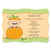 Little Pumpkin Caucasian - Personalized Baby Shower Invitations