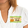Little Pumpkin Caucasian - Personalized Baby Shower Name Tag Stickers - 8 ct