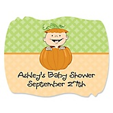 LIttle Pumpkin Caucasian - Personalized Baby Shower Squiggle Sticker Labels - 16 Count