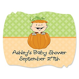 Little Pumpkin Caucasian - Personalized Baby Shower Squiggle Stickers - 16 ct