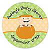 Little Pumpkin Caucasian - Personalized Baby Shower Sticker Labels - 24 ct