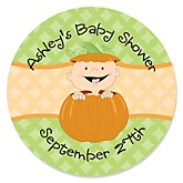 Little Pumpkin Caucasian - Personalized Baby Shower Round Sticker Labels - 24 Count