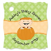 Little Pumpkin Caucasian - Personalized Baby Shower Tags - 20 Count