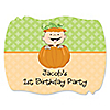 Little Pumpkin Caucasian - Personalized Birthday Party Squiggle Stickers - 16 ct