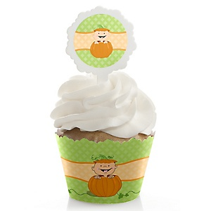 Little Pumpkin Caucasian - Cupcake Wrapper & Pick Party Kit - Set of 24
