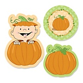 Little Pumpkin Caucasian  - Shaped Baby Shower Paper Cut-Outs - 24 ct