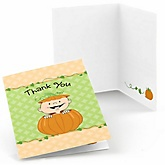 Little Pumpkin Caucasian - Baby Shower Thank You Cards - Set of  8