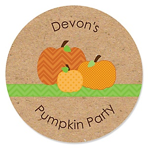 Pumpkin Patch - Personalized Fall & Thanksgiving Baby Shower Round Sticker Labels - 24 Count