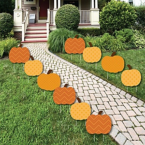 Pumpkin Patch - Pumpkin Lawn Decorations - Outdoor Fall or Halloween Yard Decorations - 10 Piece