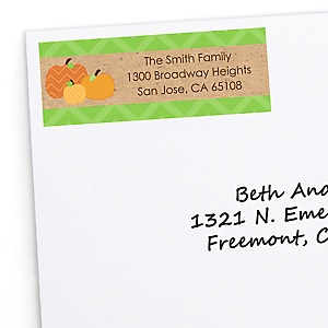 Pumpkin Patch - Personalized Fall & Thanksgiving Baby Shower Return Address Labels - 30 Count