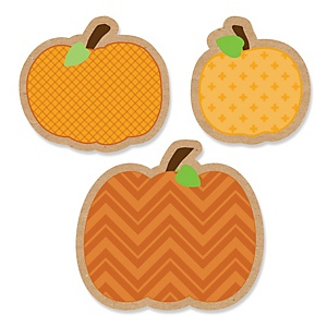 Pumpkin Patch - Shaped Fall & Thanksgiving Baby Shower Paper Cut-Outs - 24 ct