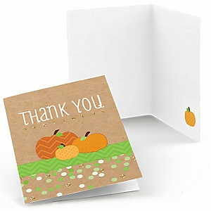 Pumpkin Patch - Fall & Thanksgiving Baby Shower Thank You Cards - Set of  8