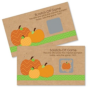 Pumpkin Patch - Personalized Fall & Thanksgiving Baby Shower Scratch-Off Game – 22 Count