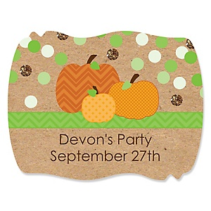 Pumpkin Patch - Personalized Fall & Thanksgiving Baby Shower Squiggle Sticker Labels - 16 Count