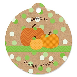 Pumpkin Patch - Personalized Fall & Thanksgiving Baby Shower Round Tags - 20 Count