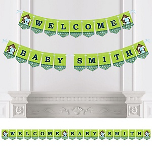 Boy Puppy Dog - Personalized Baby Shower Bunting Banner