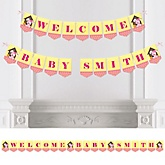 Girl Puppy Dog - Personalized Baby Shower Bunting Banner