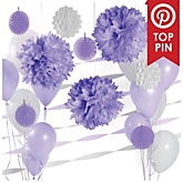 Purple and White Decoration Kit for Baby Showers