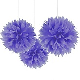 Purple Tissue Paper Pom Poms - Baby Shower Decorations - Set of 3