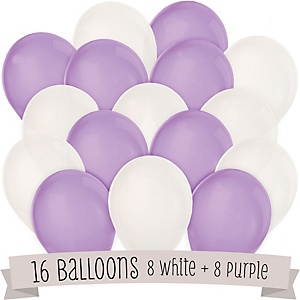 Purple and White - Baby Shower Balloon Kit - 16 Count