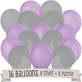 Purple and Gray - Baby Shower Balloon Kit - 16 Count