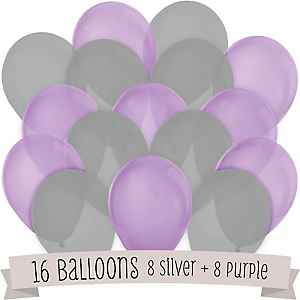 Purple and Gray - Party Latex Balloons - 16 ct
