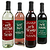 Red And Green Holiday - Holiday Wine Bottle Label Stickers - Set of 4