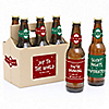 Red And Green Holiday - 6 Personalized Beer Bottle Label Stickers and 1 Carrier