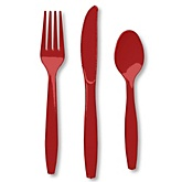 Red - Baby Shower Forks, Knives, Spoons - 24 Count