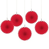 Red Mini Paper Rosette Fans - Baby Shower Decorations - Set of 5
