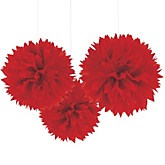 Red Tissue Paper Pom Poms - Baby Shower Decorations - Set of 3