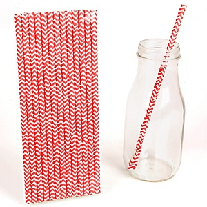 Red Chevron Paper Straws - Baby Shower Do It Yourself - 25 Count