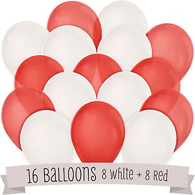 Red and White - Party Latex Balloons - 16 ct