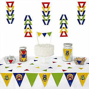 Robots - Baby Shower Triangle Decoration Kits - 72 Count