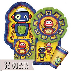 Robots - Baby Shower Tableware Bundle for 32 Guests