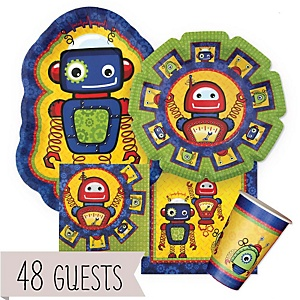 Robots - Baby Shower Tableware Bundle for 48 Guests