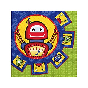 Robots - Baby Shower Beverage Napkins - 16 Pack