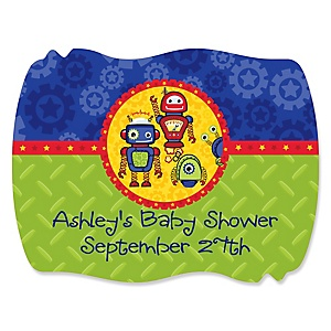Robots - Personalized Baby Shower Squiggle Sticker Labels - 16 Count