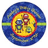 Robots - Personalized Baby Shower Round Sticker Labels - 24 Count